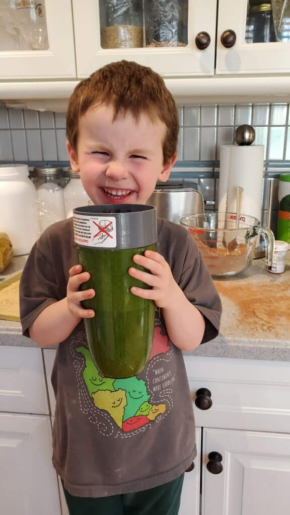 We blend up the spinach and zucchini for our healthy gluten free chocolate muffins in our Nutribullet, but you could use your blender!
