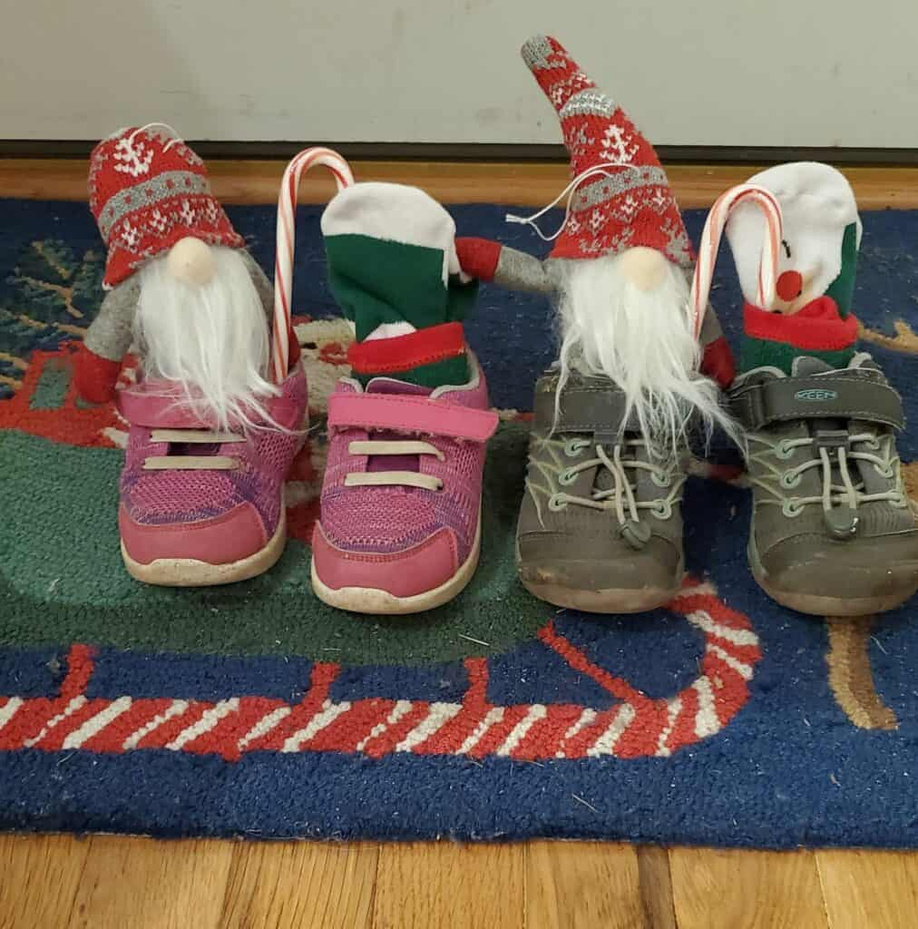 Idea for gifts in shoes on St. Nicholas Day- socks, candy canes, little gnomes, coins, sweets, and more!
