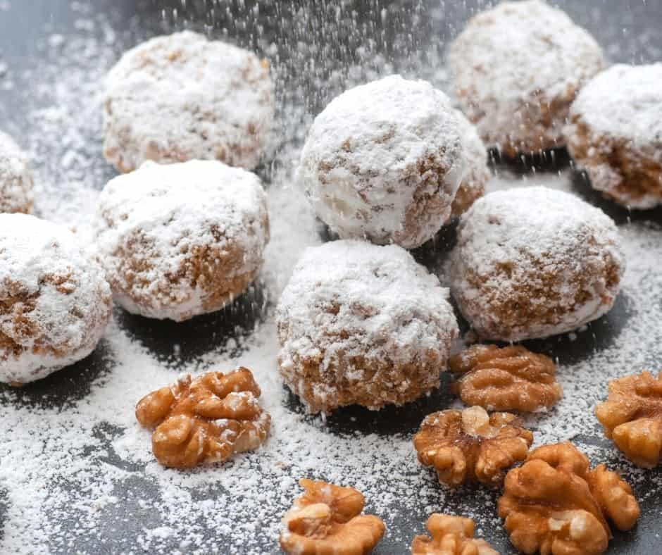 I like to make my snowball cookies with walnuts! This recipe is gluten-free and dairy-free.