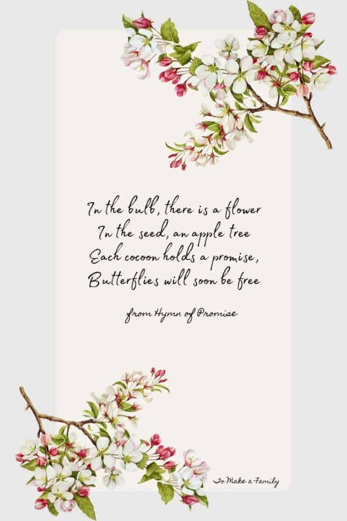 lyrics from the Hymn of Prromise, perfect for springtime songs and verses with children